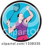 Clipart Of A Retro Cartoon White Male Badminton Player With A Racket In A Black White And Blue Circle Royalty Free Vector Illustration