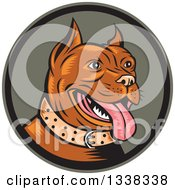 Clipart Of A Retro Cartoon Happy Woodcut Brown Pitbull Dog Panting In A Circle Royalty Free Vector Illustration