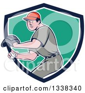 Clipart Of A Retro Cartoon White Male Baseball Player Pitching In A Blue White And Turquoise Shield Royalty Free Vector Illustration