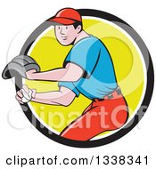 Clipart Of A Retro Cartoon White Male Baseball Player Pitching In A Black White And Green Circle Royalty Free Vector Illustration