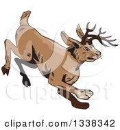 Clipart Of A Sketched Or Engraved Running Jackalope Royalty Free Vector Illustration