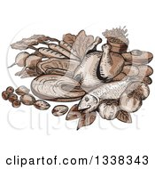 Clipart Of A Sketched Or Engraved Still Life Of Paleo Foods Royalty Free Vector Illustration