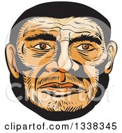 Clipart Of A Sketched Or Engraved Neanderthal Mans Face Royalty Free Vector Illustration by patrimonio