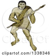 Clipart Of A Sketched Or Engraved Neanderthal Man With A Spear Royalty Free Vector Illustration by patrimonio
