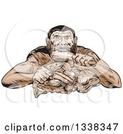 Clipart Of A Sketched Or Engraved Neanderthal Eating A Paleo Diet Royalty Free Vector Illustration