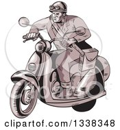 Clipart Of A Sketched Or Engraved Retro Messenger On A Scooter Royalty Free Vector Illustration