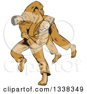 Clipart Of A Sketched Or Engraved Judo Judoka Combatant Throwing Takedown An Opponent Royalty Free Vector Illustration by patrimonio