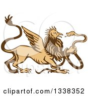 Clipart Of A Retro Woodcut Griffin Creature Holding A Snake Royalty Free Vector Illustration