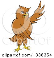 Clipart Of A Cartoon Brown Owl Presenting To The Right Royalty Free Vector Illustration by patrimonio