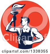 Clipart Of A Retro Navy Blue And White Woodcut Revolution Male Worker Holding A Torch In A Red Circle Royalty Free Vector Illustration