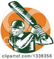 Clipart Of A Retro Woodcut Green And White Cricket Batsman Over An Orange Circle Royalty Free Vector Illustration