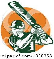 Retro Woodcut Green And White Cricket Batsman Over An Orange Circle