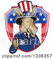 Retro Cartoon Democratic Party Donkey Uncle Sam Giving A Thumb Up And Emerging From An American Shield