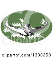 Clipart Of A Retro Black And White Woodcut Male Swimmer Doing The Butterfly Stroke In A Green Oval Royalty Free Vector Illustration