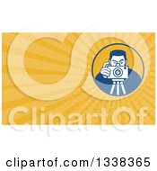 Clipart Of A Retro Male Photographer Taking Pictures On A Tripod And Yellow Rays Background Or Business Card Design Royalty Free Illustration