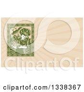 Retro Woodcut Green Organic Farmer Carrying Fresh Produce And Beige Rays Background Or Business Card Design