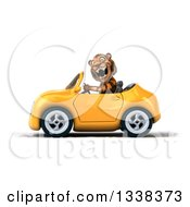Clipart Of A 3d Tiger Roaring And Driving A Yellow Convertible Car 2 Royalty Free Illustration