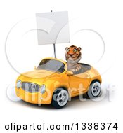 Clipart Of A 3d Tiger Holding A Blank Sign And Driving A Yellow Convertible Car 3 Royalty Free Illustration