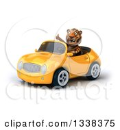 Clipart Of A 3d Tiger Giving A Thumb Up And Driving A Yellow Convertible Car Royalty Free Illustration