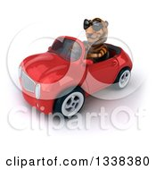Clipart Of A 3d Tiger Wearing Sunglasses And Driving A Red Convertible Car 2 Royalty Free Illustration