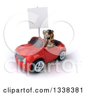 Clipart Of A 3d Tiger Wearing Sunglasses Roaring And Holding A Blank Sign And Driving A Red Convertible Car 3 Royalty Free Illustration