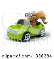 Clipart Of A 3d Bespectacled Squirrel Driving A Green Convertible Car 3 Royalty Free Illustration