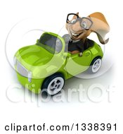Clipart Of A 3d Bespectacled Business Squirrel Driving A Green Convertible Car 2 Royalty Free Illustration