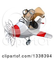 Clipart Of A 3d Bespectacled Aviator Business Squirrel Giving A Thumb Up And Flying A Red And White Airplane Royalty Free Illustration