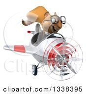 Clipart Of A 3d Bespectacled Aviator Business Squirrel Flying A Red And White Airplane Royalty Free Illustration
