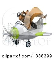 Clipart Of A 3d Bespectacled Aviator Squirrel Flying A Green And White Airplane Royalty Free Illustration
