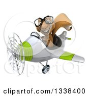 Clipart Of A 3d Bespectacled Aviator Squirrel Flying A Green And White Airplane 2 Royalty Free Illustration