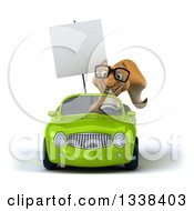 Clipart Of A 3d Bespectacled Squirrel Holding A Blank Sign And Driving A Green Convertible Car 2 Royalty Free Illustration