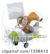 Clipart Of A 3d Bespectacled Aviator Squirrel Holding A Blank Sign And Flying A Green And White Airplane Royalty Free Illustration