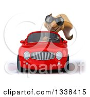 Clipart Of A 3d Business Squirrel Wearing Sunglasses And Driving A Red Convertible Car Royalty Free Illustration