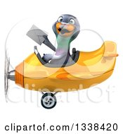 Clipart Of A 3d Aviator Pigeon Holding An Envelope And Flying A Yellow Airplane Royalty Free Illustration