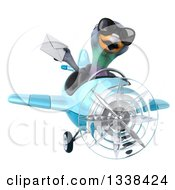 Clipart Of A 3d Aviator Pigeon Wearing Sunglasses Holding An Envelope And Flying A Blue Airplane Royalty Free Illustration
