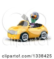 Clipart Of A 3d Pigeon Holding An Envelope And Driving A Yellow Convertible Car 2 Royalty Free Illustration