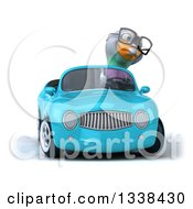 Clipart Of A 3d Bespectacled Pigeon Driving A Blue Convertible Car Royalty Free Illustration