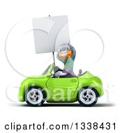 Clipart Of A 3d Pigeon Holding A Blank Sign And Driving A Green Convertible Car Royalty Free Illustration
