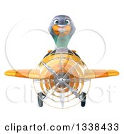 Clipart Of A 3d Aviator Pigeon Flying A Yellow Airplane Royalty Free Illustration
