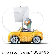 Clipart Of A 3d Pigeon Holding A Blank Sign And Driving A Yellow Convertible Car Royalty Free Illustration