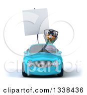 Clipart Of A 3d Bespectacled Pigeon Holding A Blank Sign And Driving A Blue Convertible Car Royalty Free Illustration