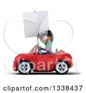Clipart Of A 3d Pigeon Wearing Sunglasses Holding A Blank Sign And Driving A Red Convertible Car 2 Royalty Free Illustration