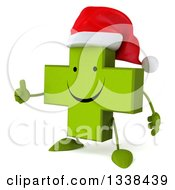 Clipart Of A 3d Happy Green Christmas Naturopathic Cross Character Facing Slightly Left And Giving A Thumb Up Royalty Free Illustration