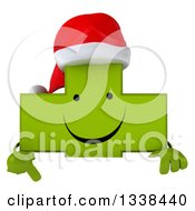 Clipart Of A 3d Happy Green Christmas Naturopathic Cross Character Pointing Down Over A Sign Royalty Free Illustration