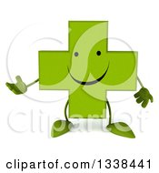 Clipart Of A 3d Happy Green Naturopathic Cross Character Presenting Royalty Free Illustration