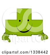Clipart Of A 3d Happy Green Naturopathic Cross Character Pointing Down Over A Sign Royalty Free Illustration