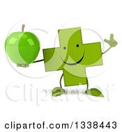 Clipart Of A 3d Happy Green Naturopathic Cross Character Holding Up A Finger And A Green Apple Royalty Free Illustration