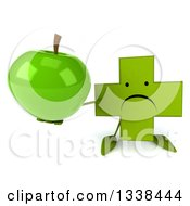 Clipart Of A 3d Unhappy Green Naturopathic Cross Character Holding Up A Green Apple Royalty Free Illustration