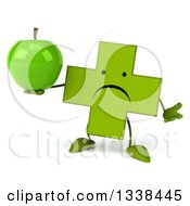 Clipart Of A 3d Unhappy Green Naturopathic Cross Character Shrugging And Holding A Green Apple Royalty Free Illustration